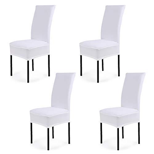 Cosyvie - Custodie Copertine Fodere coprisedia elasticizzato di sedia espandibili e lavabili per protezione Sedia sala da pranzo bianco, 4PCS