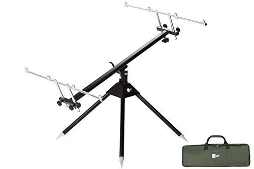 Zite Fishing Aluminum Rod-Pod Ruten-Halter 4 Ruten – Rutenständer Verstellbar mit Transporttasche zum Karpfen-Angeln