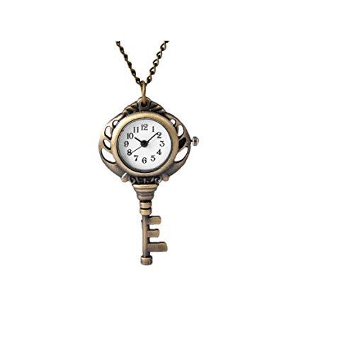 Unisex-Taschen-Uhr Analog-Quarz-Bewegung Taschen-Uhr-Schlüssel-Form-Taschenuhr Mit Kette Hängender Verzierung Bronze 1PC