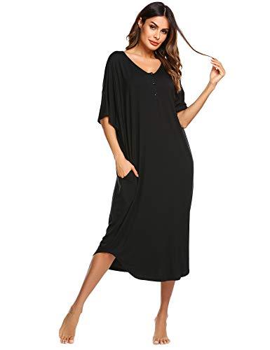 Ekouaer Nightgowns for Women Button-down Sleepwear Short Sleeve Nightshirt Plus Size Night Wear S-XXL