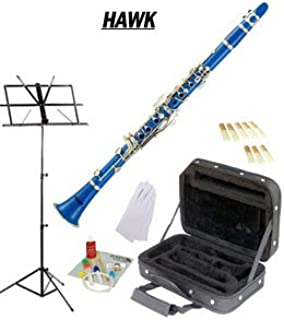 Hawk Blue Bb Clarinet Package with Case Reeds Music Stand & Cleaning Kit WD-C213-BL-PACK
