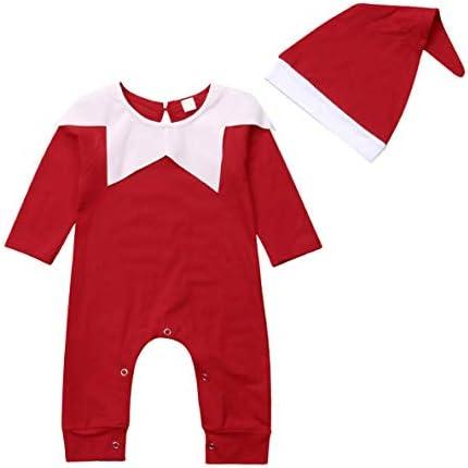 Newborn Baby s Xmas Long Sleeve Romper Hat Chrismas Santa Claus Dressed Set Onesies Jumpsuit product image