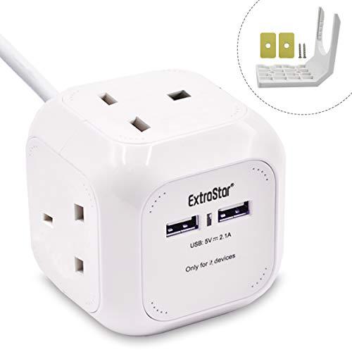4 Way Switched petit cube Extension Lead UK Mscien 2 m Mini Power Cube avec 3 USB