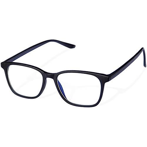 Joopin Gafas Luz Azul Hombre y Mujer para Ordenador Lentes Antireflejantes con Filtro de Luz Azul sin Graduación Bloqueo de Luz Azul Negro Mate