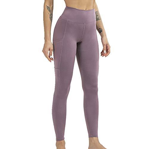 NCTCITY Yoga Leggins Push up Mallas Pantalones Deportivos Leggings Reducir Vientre Elásticos Ribbing Pantalón con Bolsillo y Acanalado para Fitness Gym Pilates