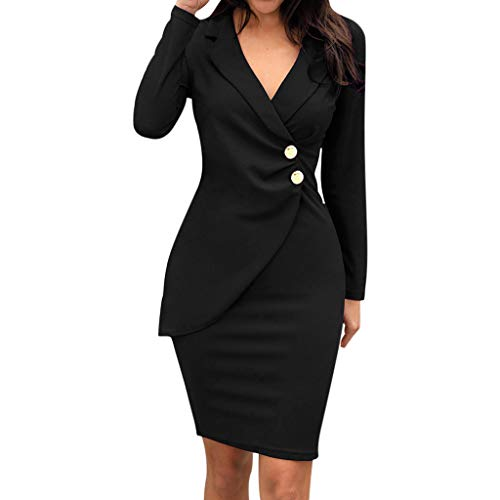 PPangUDing Kleider Damen Elegant V-Ausschnitt A-Linie Revers Mit Button Down Figurbetont Knielang Abendkleider Cocktailkleid Partykleid Brautkleid für Party Abschluss Business