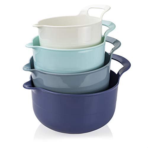 Cook with Color Plastic Mixing Bowls - 4 Piece Nesting Set with Pour Spouts and Handles (Ombre Blue)