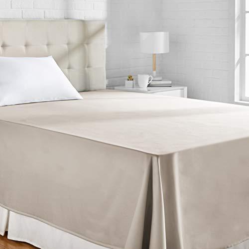 Amazon Basics - Lenzuolo piano, in rasatello di cotone, 400 fili, anti-piega, 180 x 260 + 10 cm - Grigio