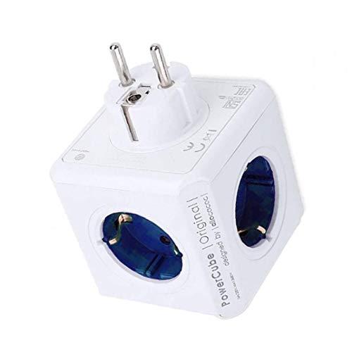 Aardich Power Strip Cubo Multi Socket Adaptador del Recorrido de extensión de 4 sockets 2 Puertos USB para Ministerio del Interior Mesa Azul
