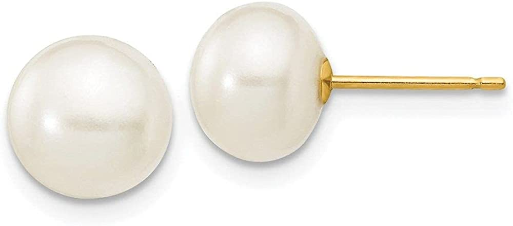 Jewelry-14k 7-8mm White Button Freshwater Tucson Mall Max 71% OFF Po Stud Cultured Pearl