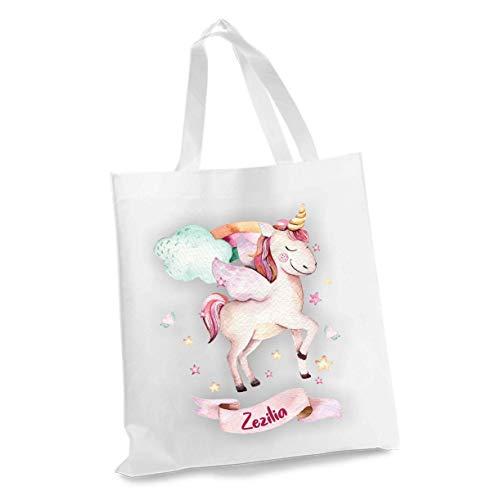 wolga-kreativ Stofftasche Einkaufstasche Flügeln Einhorn mit Name Stoffbeutel Kindertasche Sportbeutel Schuhbeutel Wäschebeutel Stoffsäckchen Jutebeutel Schultertasche Mädchen