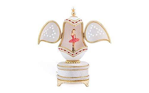 Cuzit Bluetooth Ballet Filles Oeuf Boîte à Musique lumière LED Œuf de Pâques Boîte à Musique pour Noël/Anniversaire/Saint-Valentin/Anniversaire de Mariage