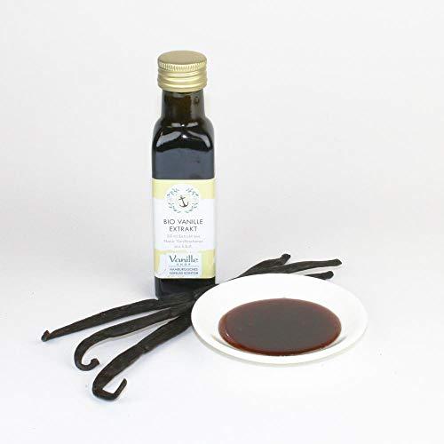Bio Vanille Extrakt, 50ml Glasflasche, aus natürlichen Bio Vanilleschoten, zähflüssig und hochkonzentriert, sehr aromatisch.