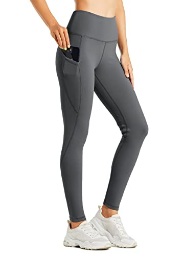 Willit Women's Fleece Lined Leggings Water Resistant Thermal Winter Pants Hiking Yoga Running Tights High Waisted Deep Gray S