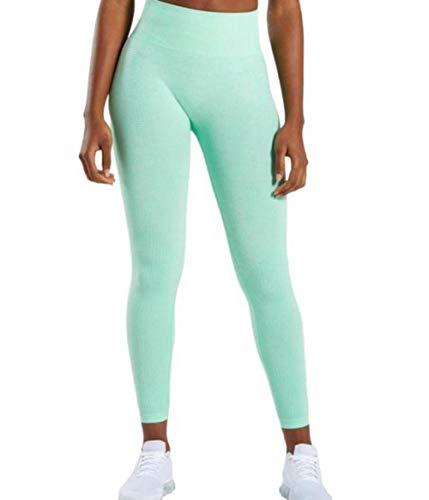 Charm4you Damen Slim-Laufhose Thermoleggings,Sport Yoga Hohe Taille Skinny Cropped Pants-Mint Green_S #,Yoga Leggings mit Tasche Klassische