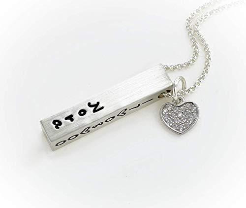 Namenskette, Silberbarren mit Herzanhänger, Barrenkette aus 925 Silber mit Gravur, personalisierte Halskette für Männer und Frauen, Partnerkette