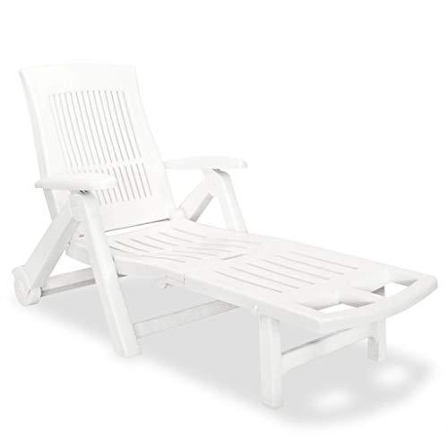 Kunststoff Sonnenliege Klappliege mit Verstellbarer Fußstütze Beach Camp Schlafstuhl Langlebige Möbel für Gartenpool Weiß 72 x 195 x 101 cm