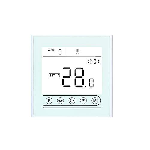 Fesjoy Controlador de Temperatura programable con termostato Inteligente Tuya WiFi para calefacción de calderas de Agua/Gas Compatible con Alexa Google Home Pantalla táctil con retroiluminación