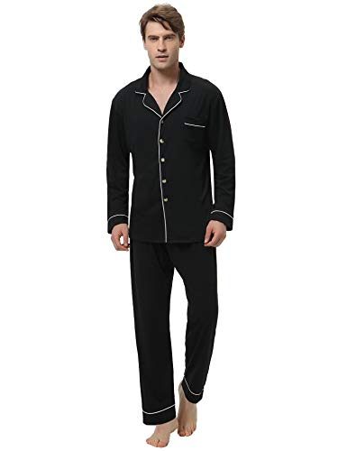 Aibrou Herren Baumwolle Pyjama Set, Einfarbiger Zweiteiliger Schlafanzug Langarm Shirt und Pyjamahose (M, 92% Baumwolle: Schwarz (Einfarbig))