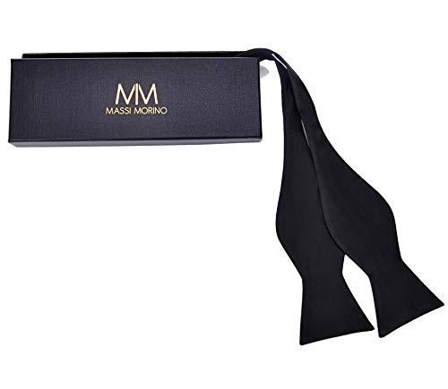 Massi Morino ® Querbinder aus 100% Seide zum Selbst-Binden (verstellbar) handgenähte Fliege (schwarz) Schwarze fliegeschwarz schwarzefliege Black Trauer Beerdigung Trauerkleidung klassischefliege