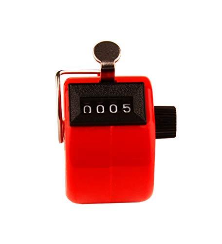 BigDean Handzähler rot mit Fingerhalt-Ring Counter Schlagzähler Golf Klicker Schrittzähler Stückzähler Zähler mechanischer Mengenzähler ohne Batteriebetrieb Personenzähler Kunststoff Inventurzähler
