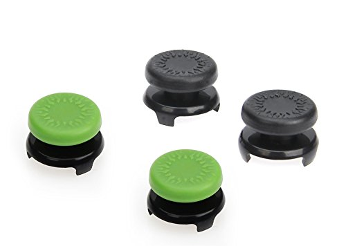AmazonBasics - Tapones para mando de Xbox One, 4 unidades, Negro y verde