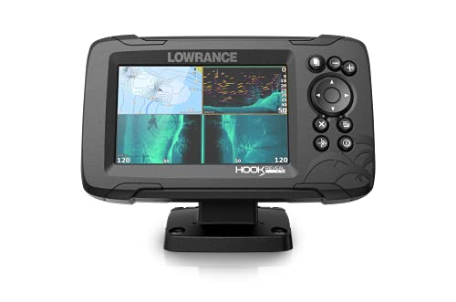 Lowrance Hook Reveal 5 TripleShot - 5-inch Fish Finder with TripleShot Transducer, Preloaded C-MAP US Inland Mapping