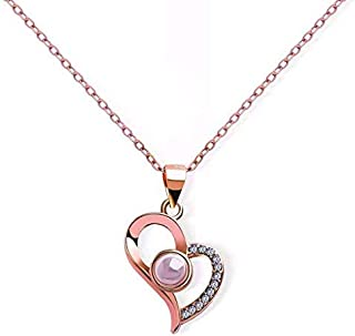 Projection 100 Languages I Love You Charm Pendant Necklace for Women Choker Lover Gift, GOLD