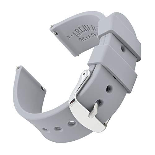 Archer Watch Straps - Correas Reloj Silicona de Liberación Rápida para Hombre y Mujer (Gris Platino, 20mm)