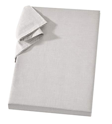Carpe Sonno Linon Bettlaken Silber Leintuch 240x260 cm ohne Gummizug 100% Baumwolle - Vielseitiges Tischtuch Tischdecke - Griffiges Haushaltstuch - Sofa & Sessel Überwurf - Tuch ohne Gummi