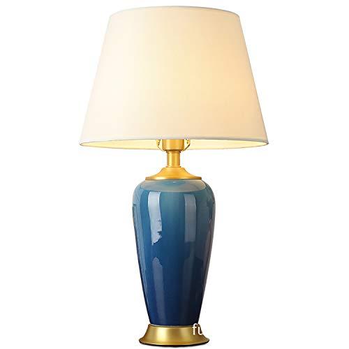 ZLXING Tischlampe antik aus Keramik, Lampenschirm aus Stoff + Fassung aus Kupfer E27, Schreibtischlampe, klassisch, Vintage, für Schlafzimmer, Nachttisch, Büro/Schlafzimmer