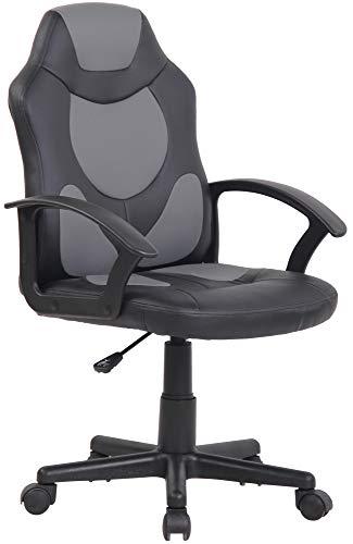 CLP Kinder Bürostuhl Adale I Höhenverstellbarer Schreibtischstuhl Mit Armlehnen I Drehstuhl Mit Leichtlaufrollen, Farbe:schwarz/grau