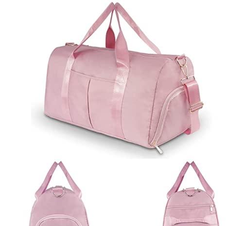 Freenfitmall Bolsa de viaje de viaje, bolsa de deporte para gimnasio, bolsa de hombro para mujer con bolsillo mojado, Pink, 2 unidades,
