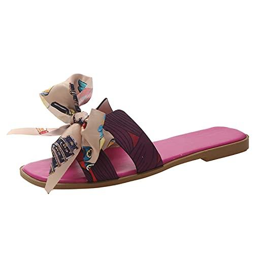 Open Toe Latschen mit Bögen Damen Schlappen Slip-on Sommerschuhe Women Roman Pantoffeln Sandalen Slipper Sommer Zehentrenner Hausschuhe Schuhe Shoes Bootsportschuhe (Pink, 35)