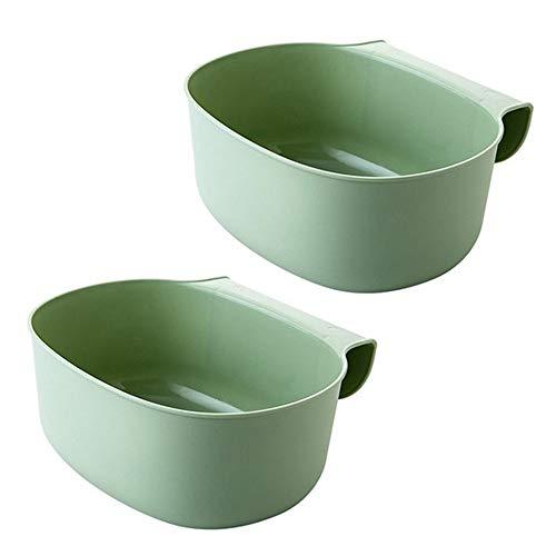 Wankd Auffangschale für Küchenabfälle Kunststoff, 2X Auffangschale für Küchenabfälle zum Einhängen - 2er Set Mülleimer Abfall Behälter für Bio Müll (Grün)