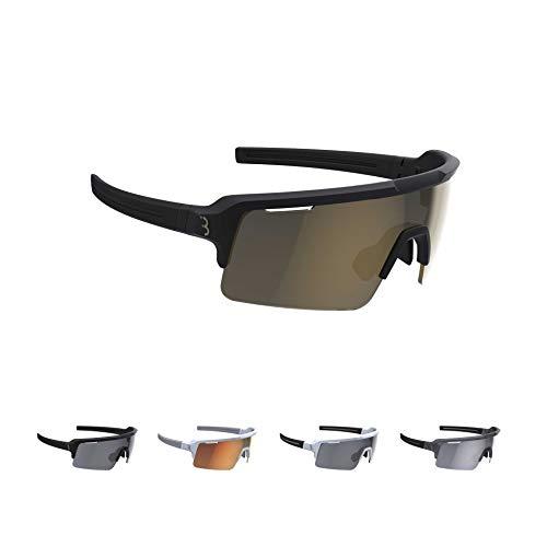BBB Cycling Unisex-Adult Fahrrad Sportbrille Modernes Großes Glas Grilamid MTB Rennrad Kies Damen und Herren Fuse BSG-65, Matt Schwarz/Gold, One Size