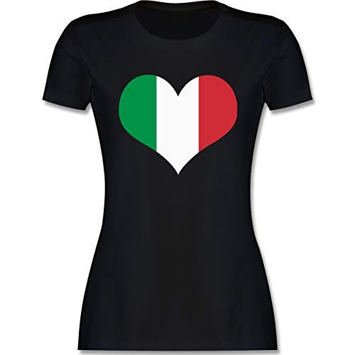 Länder - Italien Herz - L - Schwarz - Italien Shirt - L191 - Tailliertes Tshirt für Damen und Frauen T-Shirt