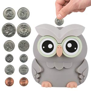 Lefree Digital Counting Money Jar,Piggy Bank,Owl Digital Coin Bank,Piggy Bank for Kids,Money Saving Box with Automatic Counting for Boys,Powered by 2 AAA Battery (Not Included)