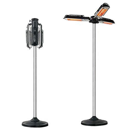 TONINI - Calentadores de patio con poste vertical, protección contra sobrecalentamiento, 1950 W, sombrilla, infrarrojos, para exteriores, para pérgola o cenador.