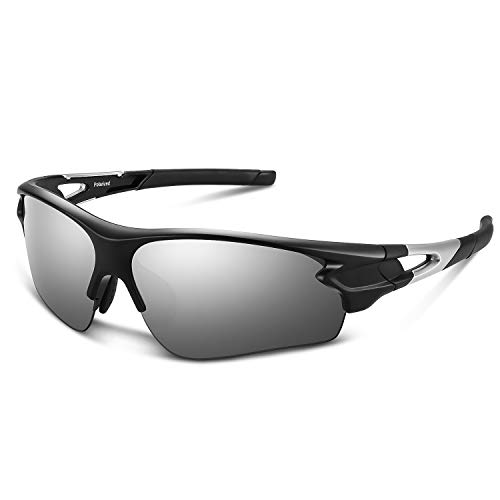 Polarized Sports Sunglasses for Men Women Youth Baseball Fishing Cycling Running Golf Motorcycle Tac Glasses UV400 (Black Sliver)