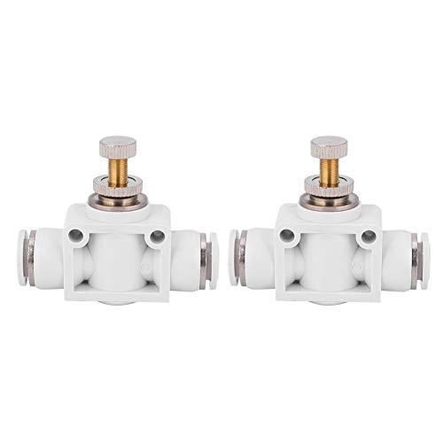 Válvula de control de velocidad de aire blanco de 2 piezas, conector de acelerador de acoplamiento rápido, conector rápido a presión, fácil de tirar y fácil de insertar(4)