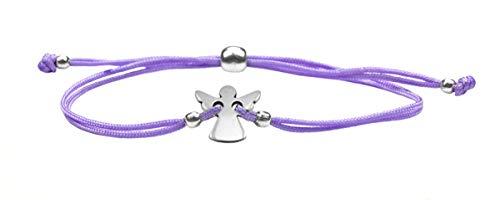 Schutzengel Armband lila für Mädchen mit Engel zur Konfirmation, Firmung, Kommunion, Glücksbringer Geschenk