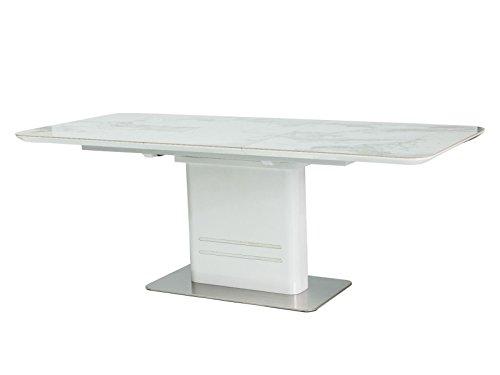 LUENRA - Mesa de comedor rectangular (extensible), cerámica blanca, 160 (210) x 90 x 76 cm, acero pulido, mármol y lacado blanco