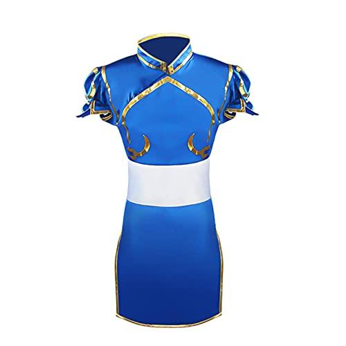 ULLAA Vestido japonés Fotografía Cosplay Disfraz Street Fighter Chun Li Juego Novedad Disfraces Cosplay para mujeres Sexy XL Azul