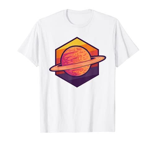 Planeta Saturno Anillos de Saturno Retro wh Camiseta