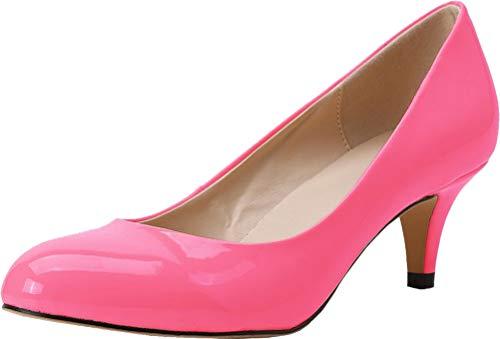Find Nice Damen Pumps mit spitzem Zehenbereich, bequem, Kätzchenabsatz, Hochzeitskleid, Brautkleid, Pink - rose - Größe: 40.5 EU