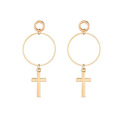 Yhhzw Pendientes Colgantes Cruzados Para Mujer Pendientes Colgantes De Color Dorado Plateado Joyería Elegante De Regalo Para Mujer