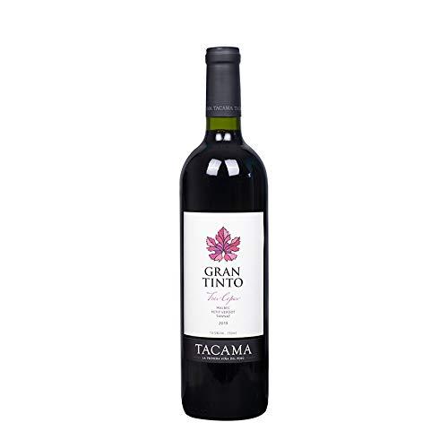 Vino Gran Tinto TACAMA, 13,5% vol., 750ml - Peruanischer Rotwein aus den Rebsorten Malbec, Petit Verdot und Tannat