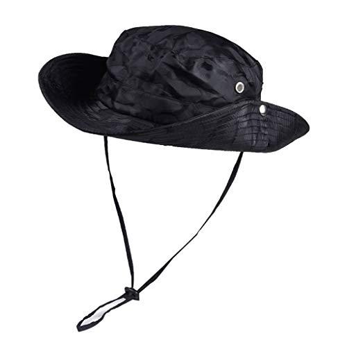 Gwxevce Unisex da Esterno a Tesa Larga Mimetico Boonie Secchio Capanna Protezione Solare Cappello da Pesca Nero