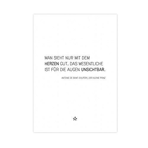 Kleine Prinz - Zitat - Kunstdruck mit Spruch auf wunderbarem Hahnemühle Papier DIN A4 -ohne Rahmen- schwarz-weißes Bild Poster zur Deko im Büro/Wohnung/als Geschenk Saint-Exupery